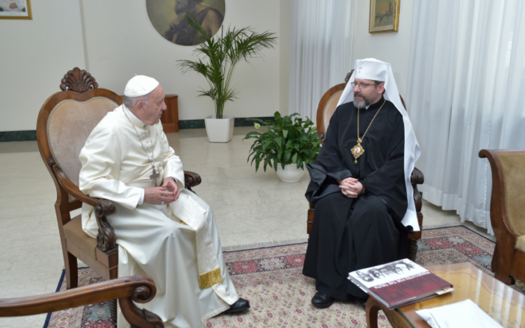 The Pope thanks the Ukrainian Greek-Catholic Church (UGCC) for its witness to the unity of Christ's Church Pope Francis meets with His Beatitude Sviatoslav at the Vatican (ENG/UKR)
